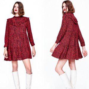 NEW Zara red ruffled animal print dress